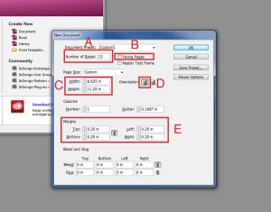 Booklet settings in Adobe Illustrator