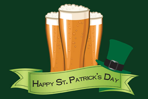 beer and hat St. Patrick's Day Postcard