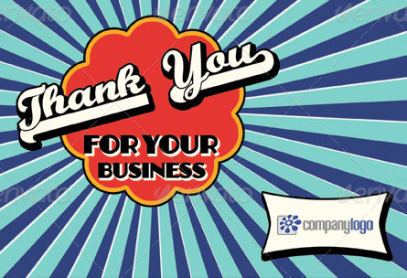 Retro business thank you card
