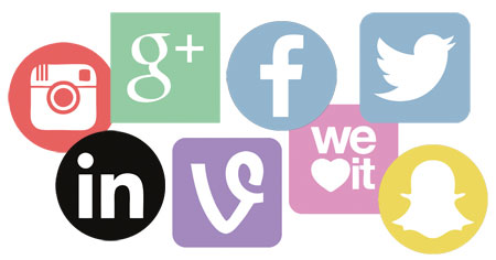 Flat designed social icons