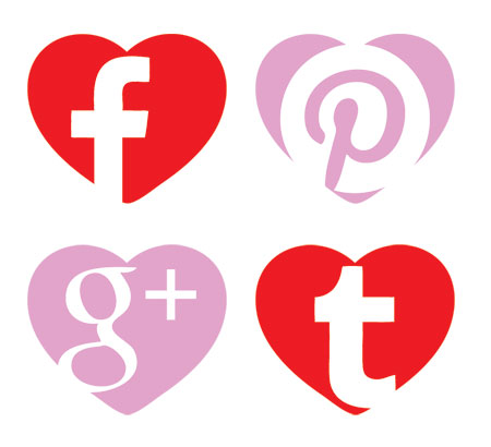 Social Icons shaped as hearts