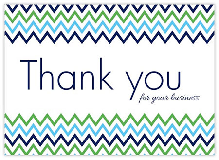 Thank you card with stripes
