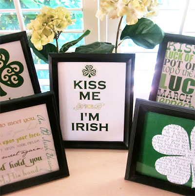 St. Patricks Day prints in picture frames