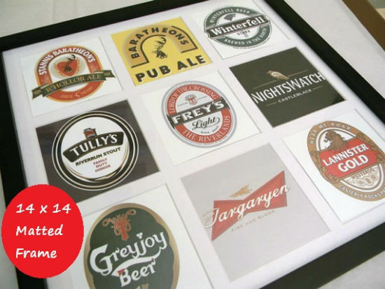 Games of Thrones Beer logos in matted frame