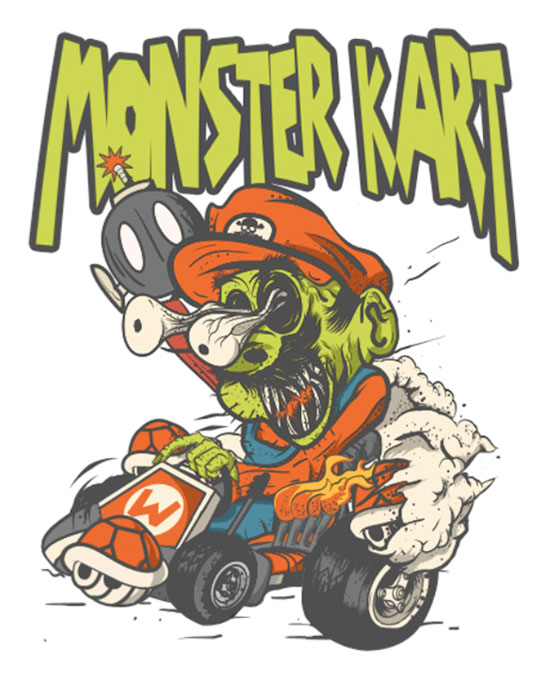 Gruesome Mario Kart Art by King Monster