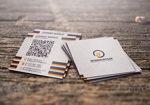 Cool examples of square sized business cards qrcode on square card reheart Gallery