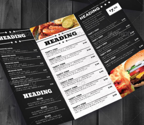Well designed menu templates for restaurants in need for Take out menu
