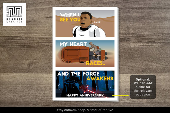 Star Wars Force Awakens Valentines Card