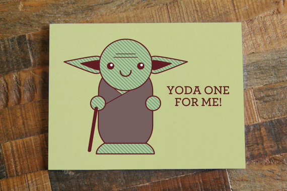 Yoda One for Me Star Wars Valentines Day Card