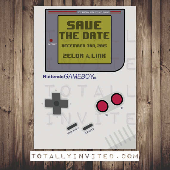 Gameboy Save The Date Card