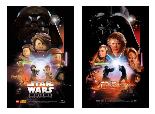 Star Wars Ep3 Lego movie posters and original