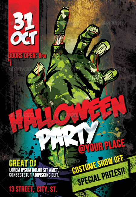 Zombie Halloween Party Flyer