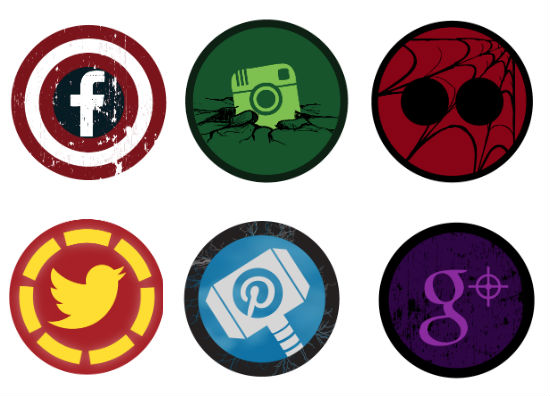 Avengers superhero social icon set