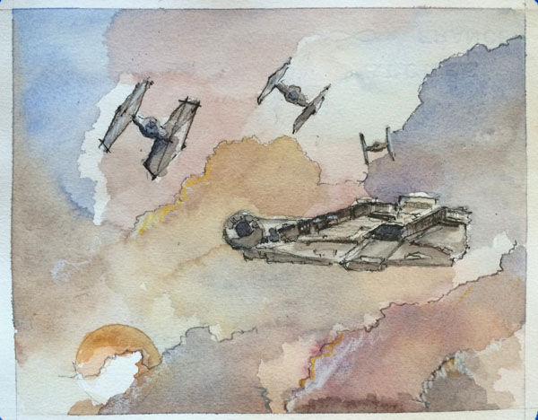 Watercolor art of Falcon being chased on Jakku
