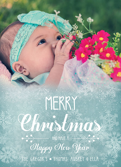 Christmas Card Template with Baby for Adobe Photoshop