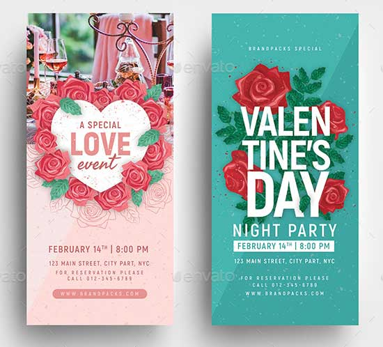 Valentines Day rack card template