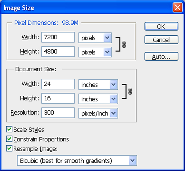 Photoshop Image Size screen