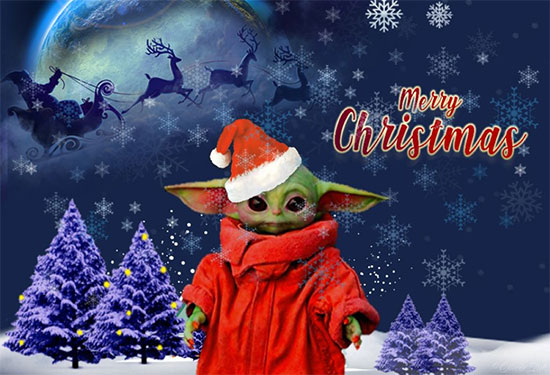 Baby Yoda Christmas Card design found at Deviant Art.