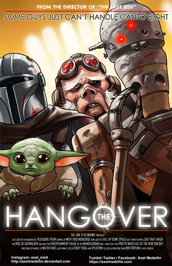 Baby Yoda mashed up with The Hangover movie