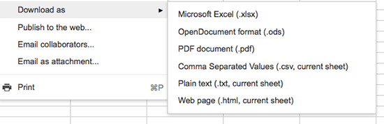 Spreadsheet export options in Google Drive