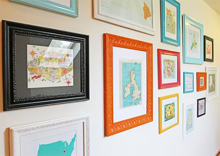 Postcards framed as decor