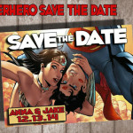 DC Comic Superman and Wonder Woman Save the Date card design