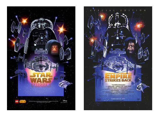 Star Wars Ep5 Lego movie poster compared to original