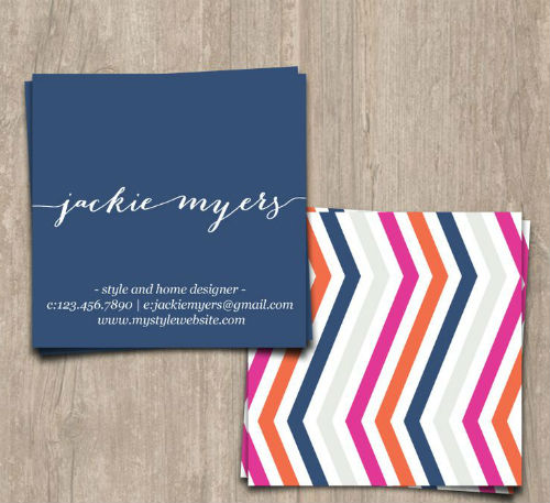 Square business card - colorful