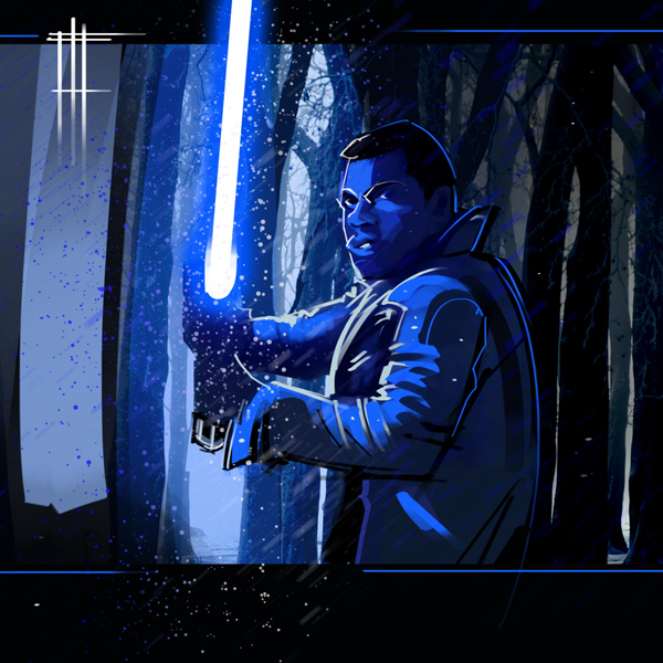 Finn with blue saber artwork