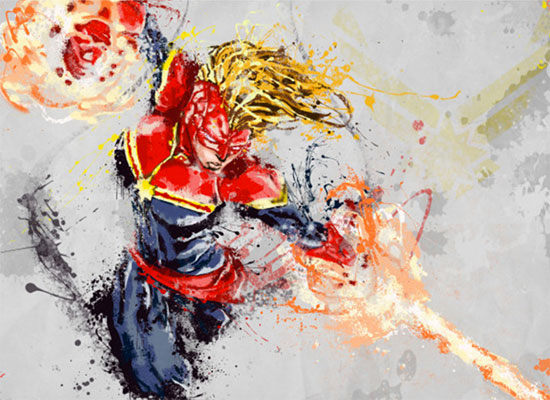 Captain Marvel print on metal