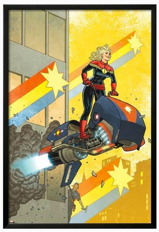 Framed wooden Captain Marvel poster.