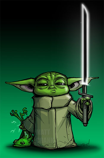 Art with Baby Yoda carrying the Darksaber