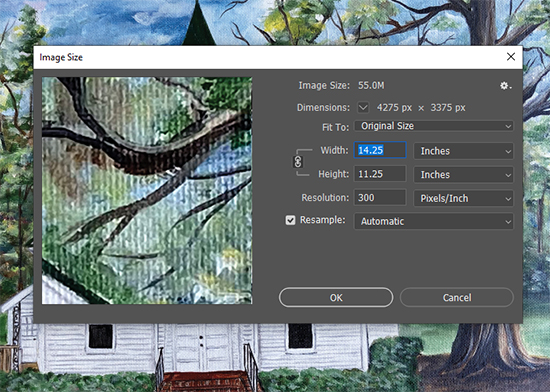 Using Photoshop to learn the size and resolution of an art file.