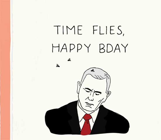 Time Flies Pence greeting card